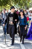 Parade in Victorian costume. CAGLIARI, ITALY - MAY 29, 2016: Sunday at the Grande Jatte VIII Edition, at the Giardini Pubblici - Sardegna royalty free stock image