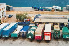 Van containers and Cargo Shipping. Cagliari, Italy - September 15, 2017: Van containers and Cargo Shipping in shipard and port of Cagliari in Sardinia Island royalty free stock image