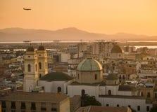 Cagliari nell'ora dorata Immagine Stock Libera da Diritti