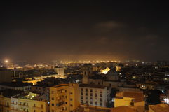 Cagliari night. Center church buildings Royalty Free Stock Photography