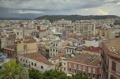 Cagliari onder het onweer stock afbeelding