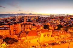 Cagliari, Sardinia Island, Italy: aerial view of Old Town Royalty Free Stock Photos