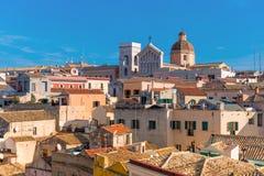 Cagliari Sardinia, Italien: Gammalt centrum Arkivbild