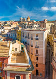 Cagliari, Sardinia, Italy: View of old houses, historical buildings and Cathedral of Cagliari Stock Image