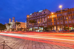 Cagliari, Sardinia, January 2 of 2016, Italy: Night view of the central street with car light trails Royalty Free Stock Images