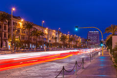 Cagliari, Sardinia, January 2016, Italy: Night view of the Street of Rome with traffic light trails Royalty Free Stock Images