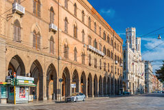Cagliari, Sardinia - January 2016, Italy: Town Hall of Cagliari, view on The Street of Rome Royalty Free Stock Photography