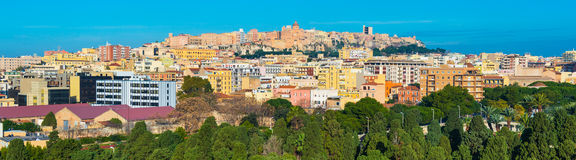 Cagliari, Sardinia: Panorama of Sardinia's capital, colored buildings and houses in historic center of the city Royalty Free Stock Images