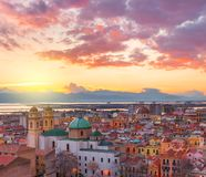 Cagliari skyline during the sunset, Italy Stock Photo