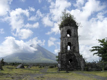 Cagsawa ruins mayon volcano philippines Stock Photo