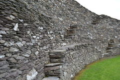 Cahergall石头堡垒内在墙壁在爱尔兰 库存照片