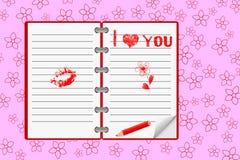 Cahier avec des messages d'amour. Vecteur. Images stock