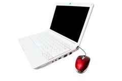Cahier avec la souris rouge d'ordinateur Image stock
