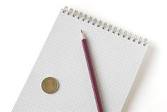 Cahier avec le crayon Photographie stock