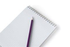 Cahier avec le crayon Photos libres de droits
