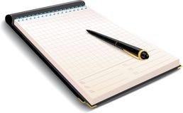Cahier avec le crayon lecteur Image libre de droits