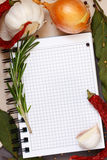 Cahier culinaire. Photo stock