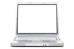 Cahier d'ordinateur avec un écran blanc Image stock