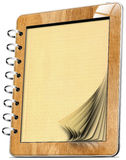 Cahier d'ordinateur de tablette en bois avec des pages Photographie stock libre de droits