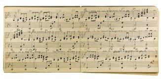 Cahier de musique manuscrit d'isolement Image libre de droits
