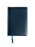 Cahier en cuir bleu fermé d'isolement sur le blanc Images libres de droits