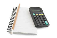 Cahier et crayon, une calculatrice Photos stock