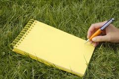 Cahier jaune dans l'herbe Photographie stock libre de droits