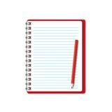 Cahier rouge neuf Images libres de droits