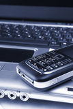 Cahier, téléphone, technologie d'affaires Photo stock