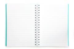 Cahier vert d'isolement sur le fond blanc Images stock