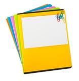 Cahiers colorés avec la carte vide Image stock