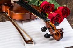 Cahiers de musique de violon, roses et Images libres de droits