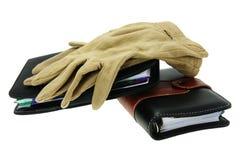 cahiers modernes de gants vieux Image libre de droits