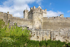 Cahir castle fortified walls. Detail of the tower and fortified walls of Cahir castle. Ireland Royalty Free Stock Image
