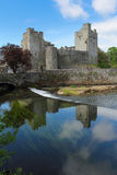 Cahir castle reflection. Cahir castle reflected in the river , Tipperary county , Ireland Stock Image