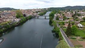 Cahors stad en kathedraal, zuidelijk Frankrijk stock footage
