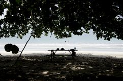 Cahuita National Park beach, Costa Rica. Cahuita National Park is a terrestrial and marine national park in the Caribbean La Amistad Conservation Area of Costa Stock Image