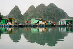 Cai Beo floating village in Ha Long Bay Royalty Free Stock Images