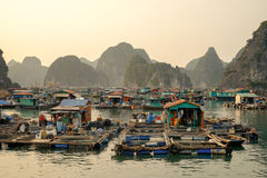Cai Beo floating village on sunset in Ha Long Bay. House and fishing boat in Cay Beo floating village on sunset, Ha Long Bay, Vietnam royalty free stock photos