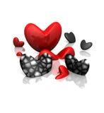 Cai nos corações pretos de /Red do amor muitos o leite de /Swim Fotos de Stock Royalty Free