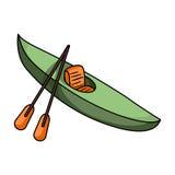 Caiaque verde para para baixo em um rio da montanha Transporte da água dos esportes O navio e a água transportam o único ícone no ilustração stock