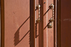 Caidate   varese abstract   brass brown knocker  closed wood lom Royalty Free Stock Images