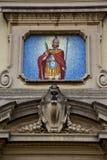 Caiello Италия церков старые вход и мозаика двери Стоковые Изображения
