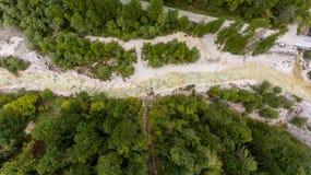 Caiga abajo la vista de la cama de río que corre a través de un bosque Imagen de archivo libre de regalías