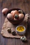 Cailles et oeufs de poulet Photo libre de droits