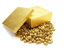 Cailloux de configuration d'or Image libre de droits