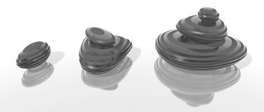 Cailloux en verre rayés par noir Image libre de droits