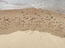 Cailloux sur une plage chez Blyth Photographie stock