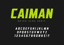 Caiman καθιερώνον τη μόδα χωρίς τον αναδρομικό χαρακτήρα πατουρών, πηγή, επιστολές και numbe διανυσματική απεικόνιση