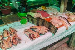 Caiman meat for sale. At Belen Market in Iquitos stock photography